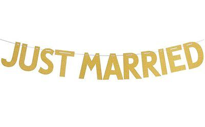 Just Married Shower Glitter Wedding Banner Bunting Hen Night Party Decoration • 2.99£