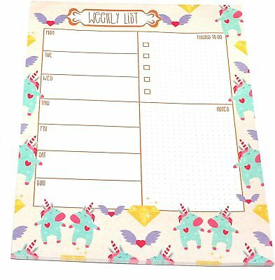 £2.48 • Buy 1x A4 Unicorn Design Desk Weekly Planner & Shopping List Pad Tear Off Sheets