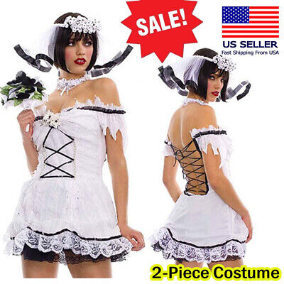 Corpse Bride Ghost Zombie Wedding Halloween Costume Lace Up Back Mini Dress S-XL • 5.43£
