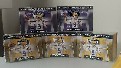 $ CDN55 • Buy (5) Box Lot 2020 LEAF DRAFT FOOTBALL BLASTERS, 3 Retail 2 Hobby 12 Auto 100 Pk D