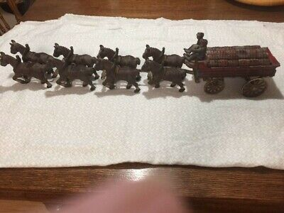 $ CDN202.03 • Buy Vintage BUDWEISER Cast Iron Clydesdale Horse Team Of 8 W/Hitch And Wagon