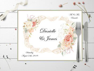 10 Personalised Roses & Lace Table Place Mats - Wedding, Christening, Etc. • 5.99£
