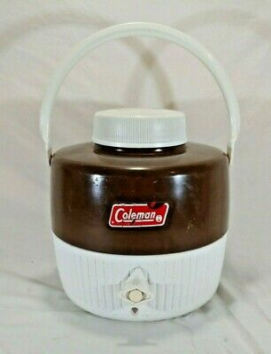 $9.99 • Buy Vintage COLEMAN Brown Thermos Water Cooler Gallon Jug Dispenser Container
