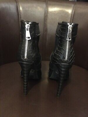 Miss Guided Mesh & Snakeskin Open Toe High Heel Shoes With Zip At Back – 5 Inch  • 7£