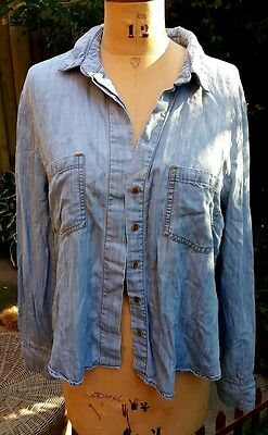 $ CDN25 • Buy Elevenses Anthropologie Chambray Tencel Button Up Light Wash Shirt Top Blouse L