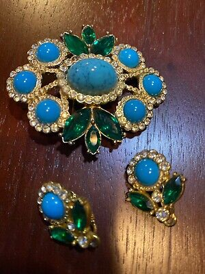 $20 • Buy Sarah Coventry Broach And Clip On Earring Set, Gold Tone, Turquoise And Green