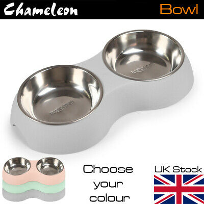 £9.85 • Buy Large Dog Cat Double Bowl Puppy Food Water Feeder Stainless Steel Pets Dish