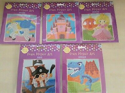 Kids Craft Set Glitter Foam Mosaic Art Unicorn Princess Castle Dinosaur Pirate • 2.95£