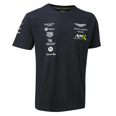 Sale! 2018 Aston Martin Racing Team Mens Sports T-Shirt Navy Size Large • 15.99£