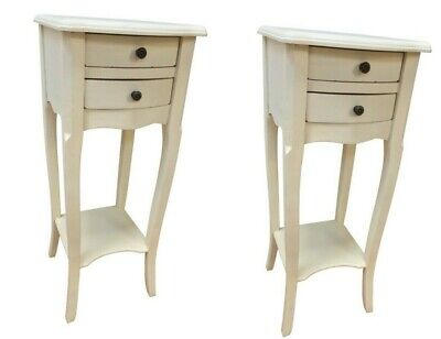 £129.50 • Buy Pr Antique White 2 Drawer Bedside Chest Bedroom French Furniture Shabby SECONDS