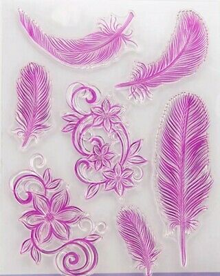 Feather Clear Rubber Stamps-transparent Feathers/floral Flower Large Stamp • 5.35£
