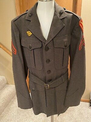 $50 • Buy WWII WW2 USMC Named Green Dress Uniform 5th Division