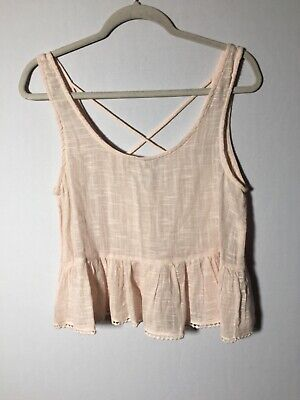 AU22.05 • Buy Pull And Bear Womens Beige Cami Tank Top Singlet Size M Sleeveless Cotton