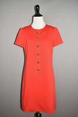 $25 • Buy SHOSHANNA $395 Red Ponte Stretch Short Sleeve Shift Dress Large Buttons Size 8