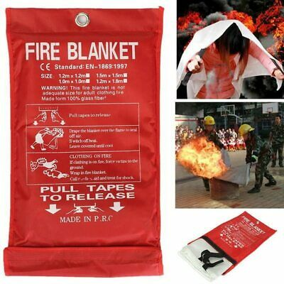 $9.69 • Buy Emergency Fire Blanket Quick Release In Case For Home Office Car 1mx1mx0.3mm