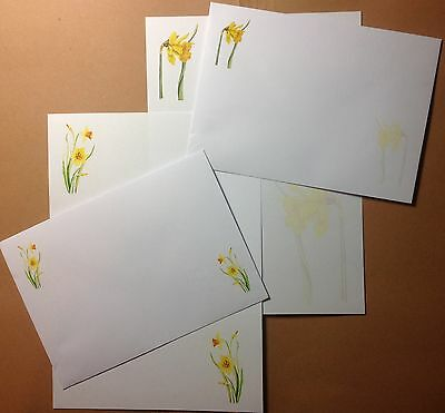 £3.40 • Buy Colourful Daffodil Flowers Letter Writing Paper & Envelopes Stationery Set 8+4