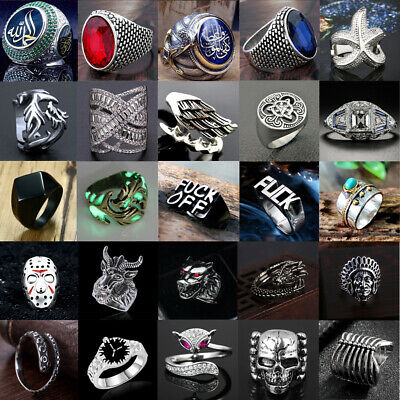AU2.88 • Buy Vintage Mens Women Stainless Steel Rock Punk Ring Band Viking Rings Jewelry Lot