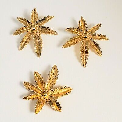 $4.99 • Buy Vintage Sarah Coventry Leaves Brooch Earrings Jewelry Set Gold Tone Lot 2