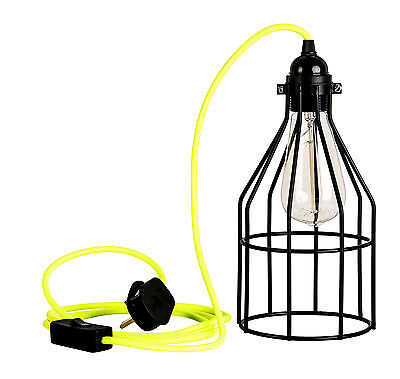 £25 • Buy Black Cage Guard Industrial Retro Light Ceiling Lamp Neon Fluroscent Cable