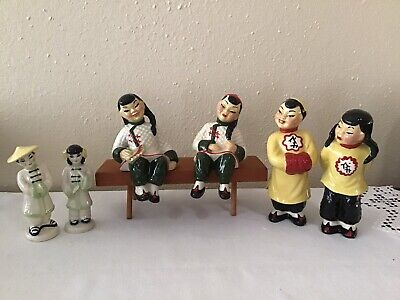 $19.99 • Buy Vintage Ceramic Arts Studio Asian Boy And Girl Figurines And Bench