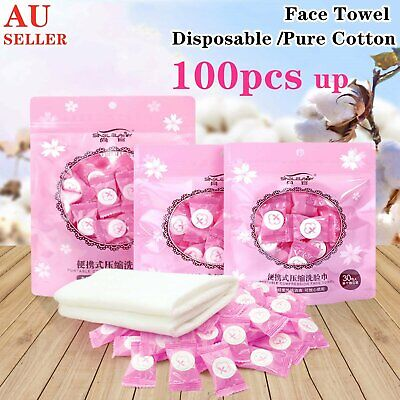 AU6.98 • Buy Disposable Pure Cotton Compressed Washcloth Face Towel Wet Wipe Travel Napkin