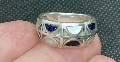 $25 • Buy Charles Winston CW 925 Sterling Silver Mother Of Pearl & Lapis Inlay Ornate Ring