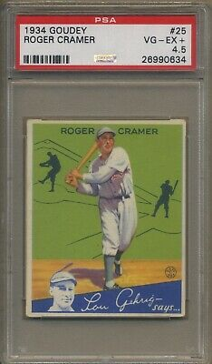 $50 • Buy 1934 Goudey #25 Roger Cramer Philadelphia Athletics PSA 4.5