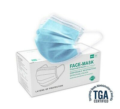 AU11.50 • Buy 50 PCS Disposable Face Mask 3 Ply TGA Dust Filter Masks Protective 98% 3 Layer