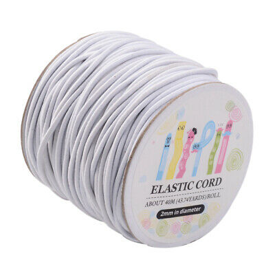 $ CDN14.63 • Buy 40m/roll Round Elastic Cord 2mm With Nylon Outside And Rubber Inside Black White