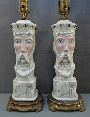 $149.95 • Buy 2 Vintage Large Jeweled King Table Lamps Man Cave Chess Medieval Gothic Pair