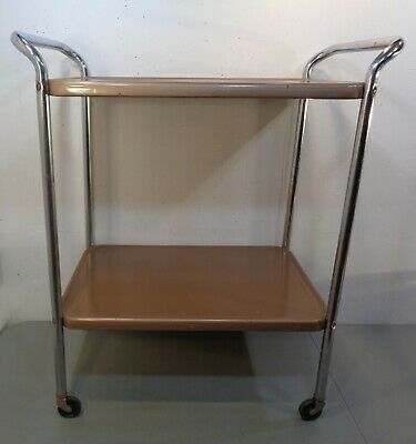 $79.95 • Buy VTG Mid Century Modern Cosco Stylaire  2 Tier Kitchen Cart Chrome & Tan 50's