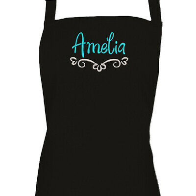 Personalised Ladies Black Embroidered Apron, Baking, Cooking Apron, Gift For Her • 13.99£