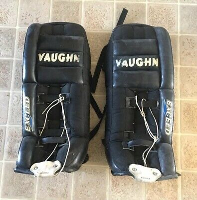 $99 • Buy Vintage Vaughn VPG 625 Black Goalie Pads Hockey Leather Leg Pads 28