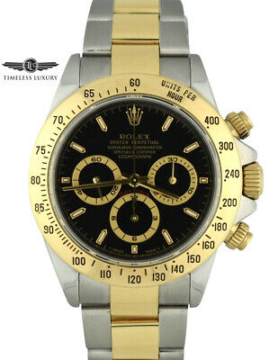 $11999 • Buy 1999 Rolex Daytona 16523 Stainless Steel & 18k Gold Black Dial Zenith Movement