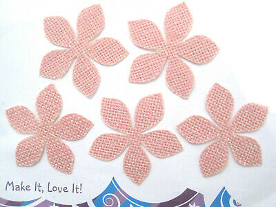 5 X JUTE FLOWER Card Toppers 60mm PALE BABY PINK CRAFTS Daisy Burlap Cut Outs • 1.69£
