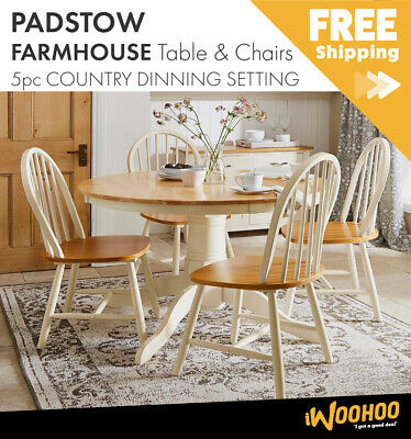AU495 • Buy 5pc Country Dining Setting - Padstow Farmhouse Table And Straight Back Chairs