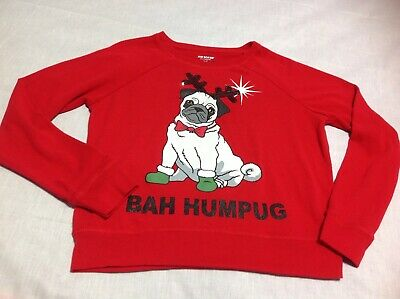 $11.99 • Buy Holiday Christmas Sweater Sz L Pug Dog Bah Humpug Sweater Pullover Joe Boxer RED