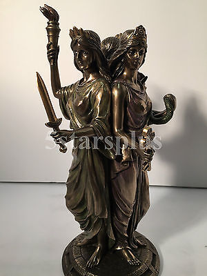 Large HECATE Greek Goddess Of Magic Witchraft 12  Tall Statue Sculpture Figurine • 65.44£