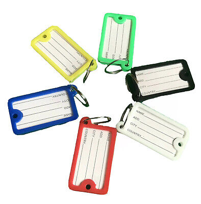 £2.39 • Buy Key Tags ID FOB Tag Ring Plastic Name Label Holder Office Lock Luggage UK AC1080