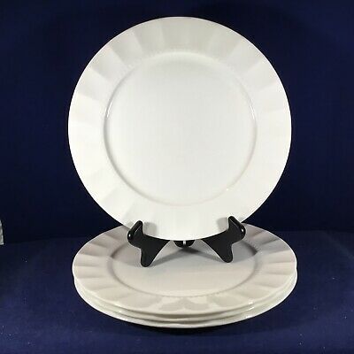 "$36 • Buy Elegant Set-4 ROSCHER Bone China 11"" DINNER PLATES Scalloped Hobnails Pearl Dots"