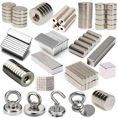 AU8.09 • Buy Super Strong Recovery Ring Cuboid Round Rare Earth Block Neodymium Magnet Hook