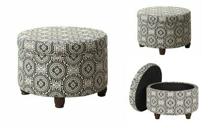 $120.99 • Buy Modern Round Storage Ottoman Upholstered Seat Stool Bedroom Pouf Foyer Footstool