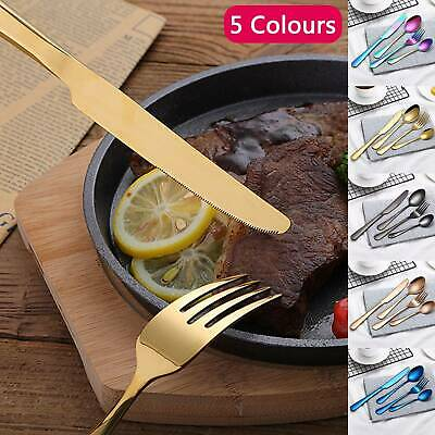 4pcs Stainless Steel Cutlery Sets Rainbow Colourful Iridescent Spoon Forks Set • 5.99£