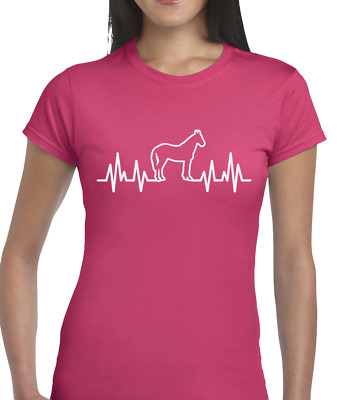 Horse Heartbeat Ladies T Shirt Funny Horse Riding Lover Show Jumping Equestrian • 6.99£