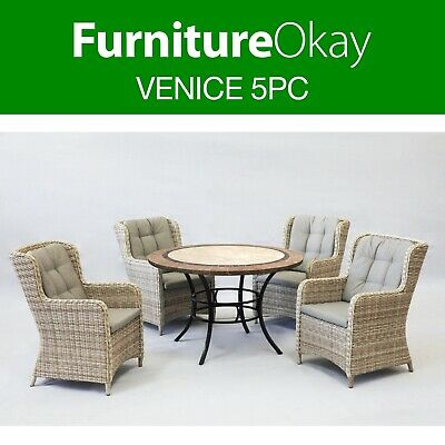 AU2049 • Buy Venice 5pc Wicker Outdoor Dining Setting Patio Garden Set Stone Table Furniture