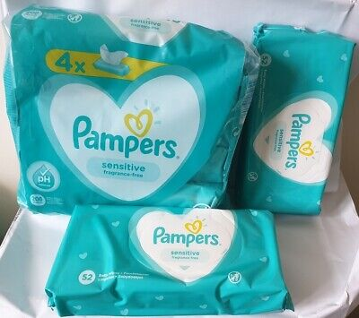 6x 52 Pk Pampers Sensitive Baby Wipes 6 Packs (312 Wipes Total) • 9.45£