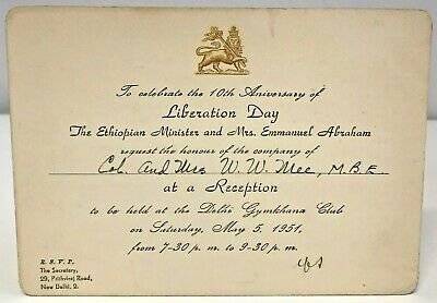 Invitation Ethiopian Liberation Day 10th Anniversary Celebration 1951 New Delhi • 29.99£