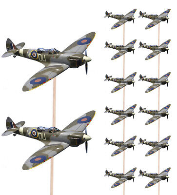 £4.99 • Buy 14 Food Cupcake Picks Decorations Party Spitfire Aircraft Military Army Monarch