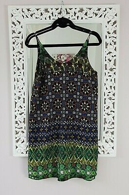 Topshop Green & Blue Floral Tile Print Cami Dress, UK Size 10 Immaculate • 14£