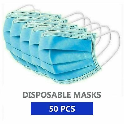 $27.99 • Buy 50 PCS Face Mask Medical Surgical Dental Disposable 3-Ply Earloop Mouth Cover